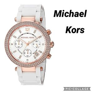 Michael Kors Parker White and rose gold watch